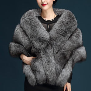 Modern Pure Color Faux fur Women's Cloak