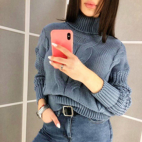 Casual Women High Neck Loose Solid Color Sweater