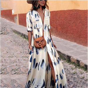 2019 CEA Women's Button Down Collar Stripes Half Sleeve Maxi Dresses