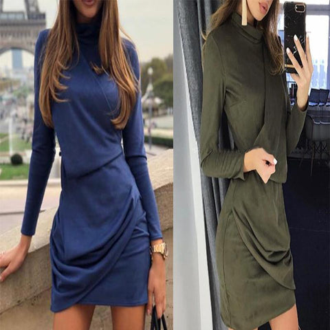 Round Neck  Plain Draped Bodycon Dresses
