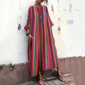 2019 CEA Bohemian Striped  Bell Sleeve Maxi Dresses