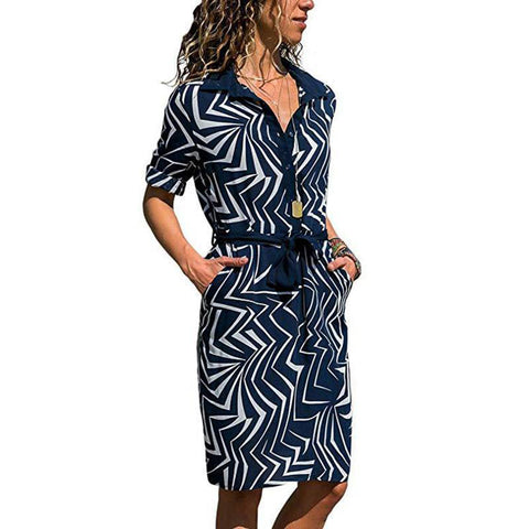 Striped Printed Lapels Long Sleeve Loose Dress