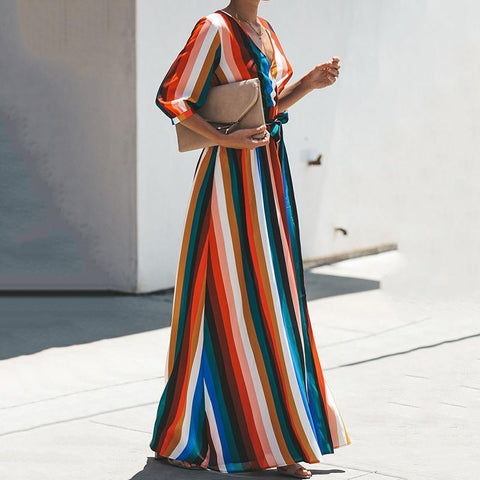 Fashion Printed Colour Halflong Sleeve Maxi Dresses