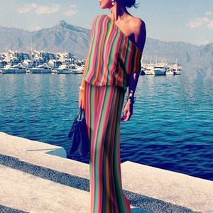 2019 CEA Women's One Shoulder Stripes Plain Maxi Dresses