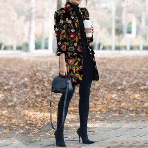 2019 CEA Women's Autumn And Winter   Fashion Printed Long-Sleeved Suit Jacket