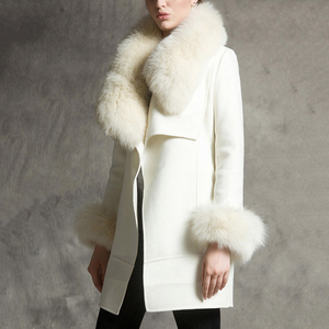 New Women's Fur Collar Long Woolen Coat