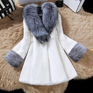Women's Mid-Length V-Neck Fur Collar Faux Fur Coat