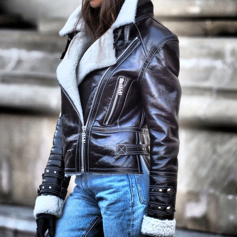 Women's fashion personality warm leather jacket