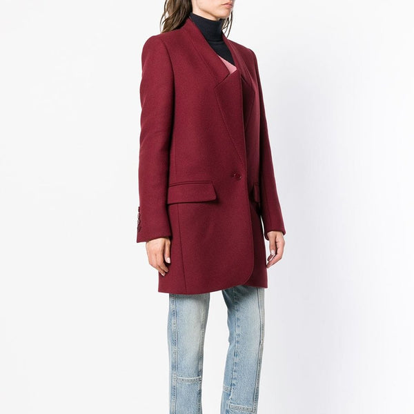 2019 CEA Women's Solid Color Stand-Up Collar Pocket Coat