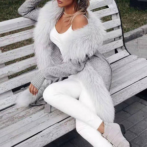 Fashion fur collar grey long sleeve knit coat