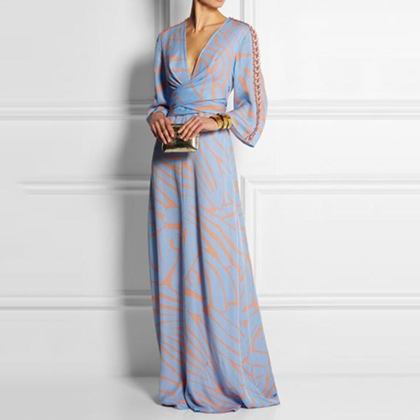 2019 CEA Women's Sexy V Neck Long Sleeves Maxi Dress
