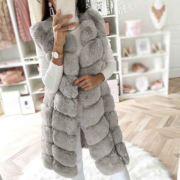 Autumn And Winter Pure Color Sleeveless Plush Coat