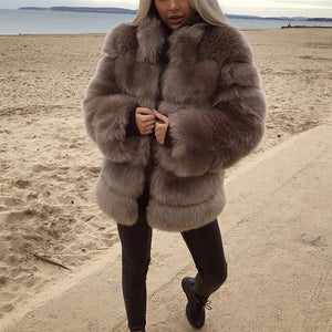 Women's faux fur casual versatile fur coat