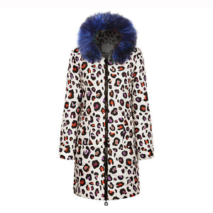 Fashion print hooded big fur collar down jacket
