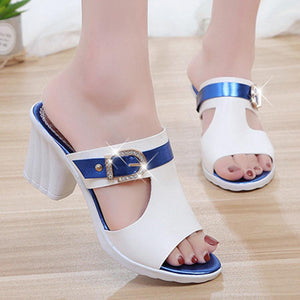 Color Block  Chunky  High Heeled  Peep Toe  Date Outdoor Sandals