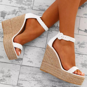Fashion Woven Wedge High Heel Sandal