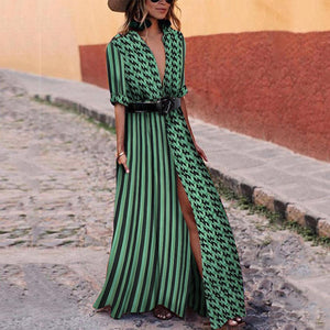 2019 CEA Women's Sexy Green Short Sleeves V Neck Floral Print Maxi Dress