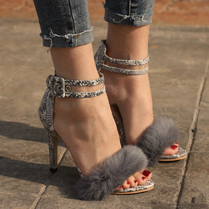 Fashion Snake-Print Real High Heel Sandals