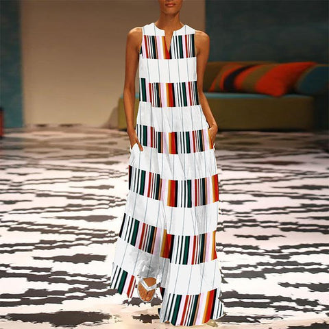2019 CEA Women's Fashion V Neck Colorful Striped Casual Maxi Shift Dress