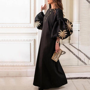 2019 CEA Round Collar Loose Bubble Sleeve Printing Maxi Dress