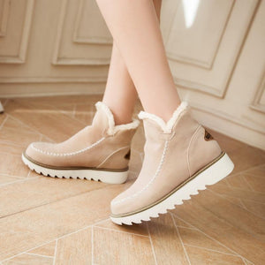 Winter Warm Fashion Shoes Plain Round Toe   Snow Boots