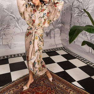 2019 CEA Women's Elegant Fashion Loose Floral Button V Collar Long Sleeve Fork Maxi Dress