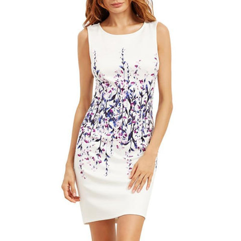 White Print Sexy Bodycon Dress