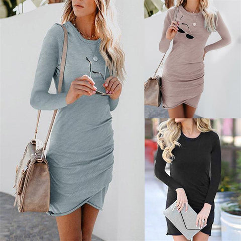 Long Sleeve Round Neck Sexy Bodycon Dress