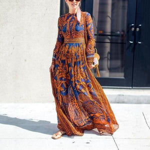 2019 CEA Women's Chiffon Print Long-Sleeved Vintage Maxi Dress