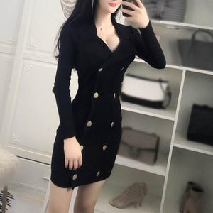Lapel Double-Breasted Pure Color Long Sleeve Bodycon Dress