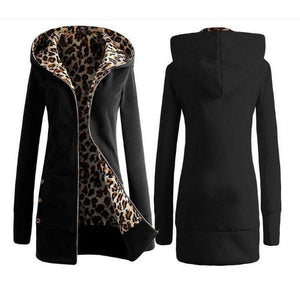 Ecogora Women's Long Sleeve Thick Hoodies Leopard Outerwear
