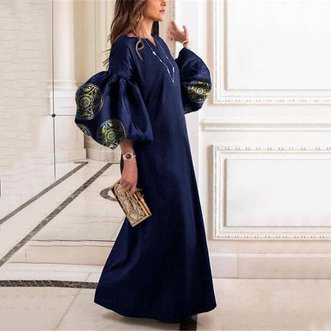 2019 CEA Women's Round Collar Loose Bubble Sleeve Printing Maxi Dress
