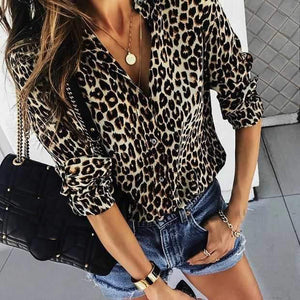 2019 CEA Women's Fashion Leopard Print Long-Sleeved Shirts