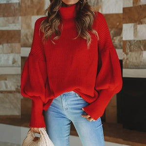 2019 CEA Women's Elegant Long Sleeved High Neck Loose Sweater