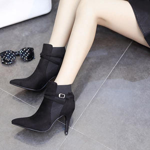 Fashion Pointed Suede High Heel Ankle Boots