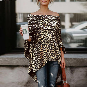 2019 CEA Off Shoulder Leopard Printed Asymmetric Blouse
