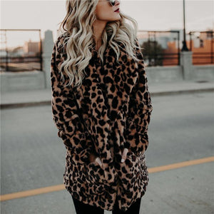 2019 CEA Women's Fashion Leopard Print Collar Warm Coat