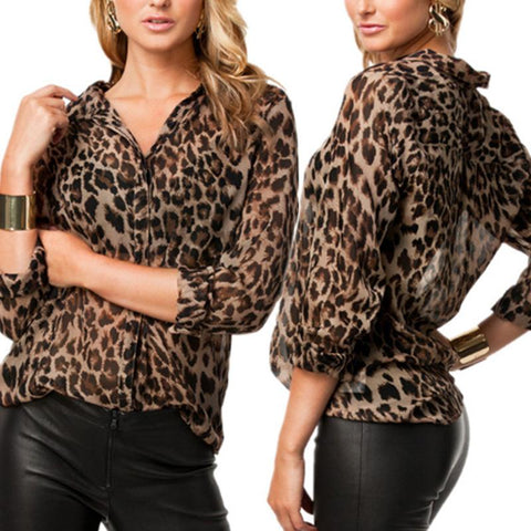 Fashion Leopard Printed 3/4 Sleeve Sexy Blouses