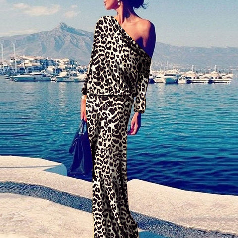 2019 CEA Sexy Leopard Print Long Sleeve Maxi Dress