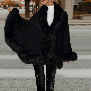 2019 CEA Women's Knit Cardigan Cape Fur Shawl