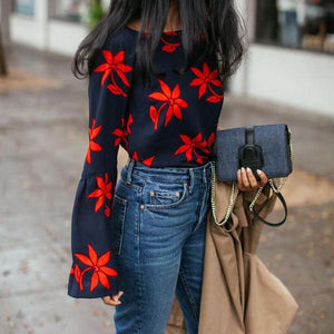 🔥Flash Sale Fashion Round Collar Red Flower Long-Sleeved Shirt