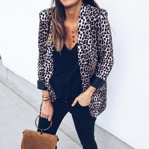 Ecogora Women's Leopard Print Fashion Suit Jacket