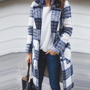 2019 CEA Women's Autumn/Winter Fashion Mid-Length Plaid Woolen Cardigan