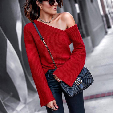 2019 CEA Women's Autumn And Winter Fashion Shoulder Pure Long Sleeve Sweater