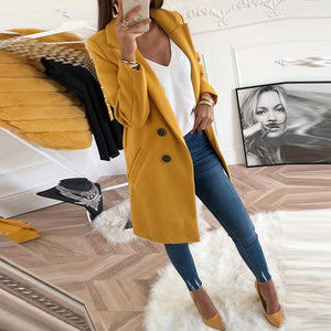 2019 CEA Women's Lapel Long Sleeve Plain Button Pocket Casual Coats