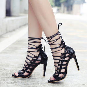 Snakeskin Roman Boots With High Heel Sandals