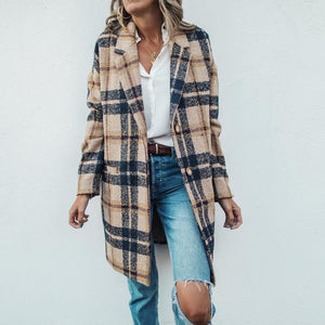 2019 CEA Vintage Lapel Collar Check Button Loose Woolen Long Coat