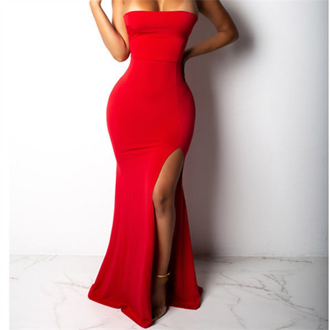 Sexy One Shoulder Strapless Slit Fishtail Skirt