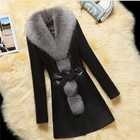 2019 CEA Women's Fashion PU Leather Long Coat