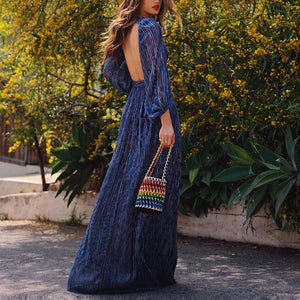 2019 CEA Casual Sexy Deep V   Neck Backless Strips Maxi Dress